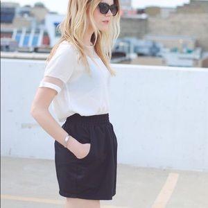 American Apparel Black Nylon Mini Skirt